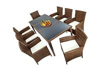Beautiful Rattan dining 9 piece set,new boxed,Mixed Brown