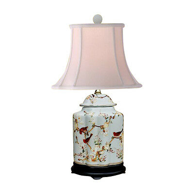 """Oriental Chinese Porcelain Floral Bird Scallop Ginger Jar Table Lamp 22"""""""