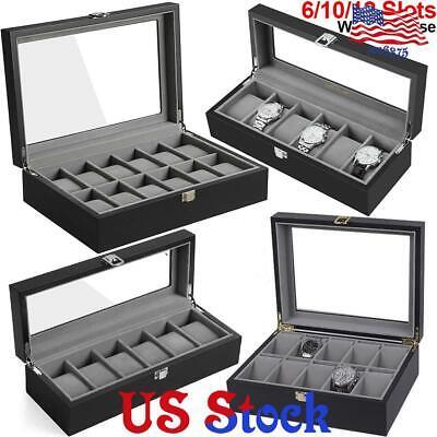 6/10/12 Slots Wooden Watch Case Display Case Storage Box Collector Organizer US