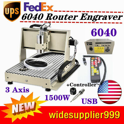 Usb 3 Axis Cnc 6040 Router Engraver Drilling Machine Ballscrew 1.5kw Controller