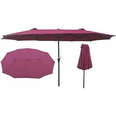 15x9Ft Outdoor Double-Sided Patio Twin Umbrella, Waterproof