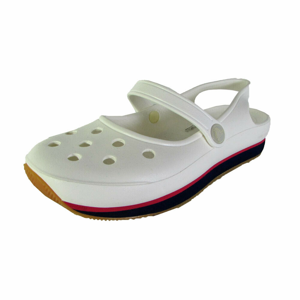Crocs Womens Retro Mary Jane Slip On Shoes, White/Nautical Navy, US 4