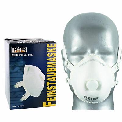 5 Tector Feinstaubmaske FFP3 NR Maske Atemschutz Staubmaske mit Atem-Ventil