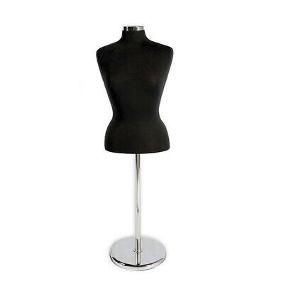 Black Adjustable Female Mannequin Blouse Form Neck Block With Chrome Base