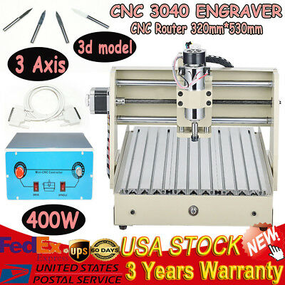 3 Axis 3040 Cnc Router Engraver Engraving Cutter Machine 3d Carving Tool 400w