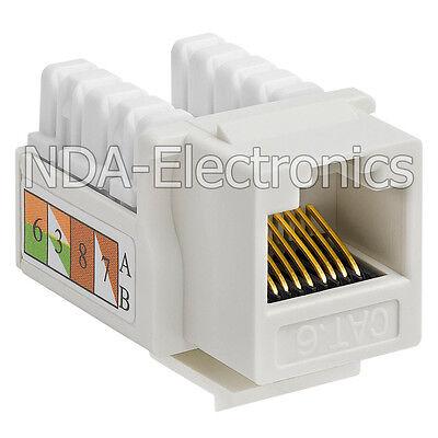 Pack of 10 Keystone Jack Cat 6 Network Ethernet 110 Punchdown 8P8C Cat6 White