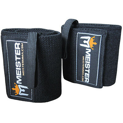 Thumb Loop Wrist Wrap (BLACK WRIST WRAPS Elastic Support Weight Lifting w/ Thumb Loop - Meister)