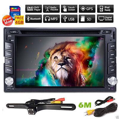 GPS Nav system HD Double 2DIN Car Stereo DVD Player Bluetooth iPod MP3 TV+Camera