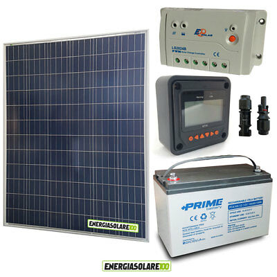 Kit placa solar panel fotovoltaico 200W 12V Batería 100Ah AGM regulador 20A...