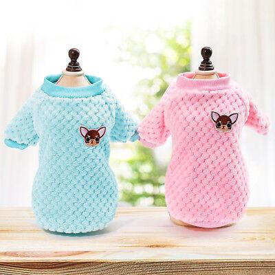 (Cozy Soft Plush Dog Sweater Clothes Pajamas Small Winter Cat Kitten Jumper Coat)