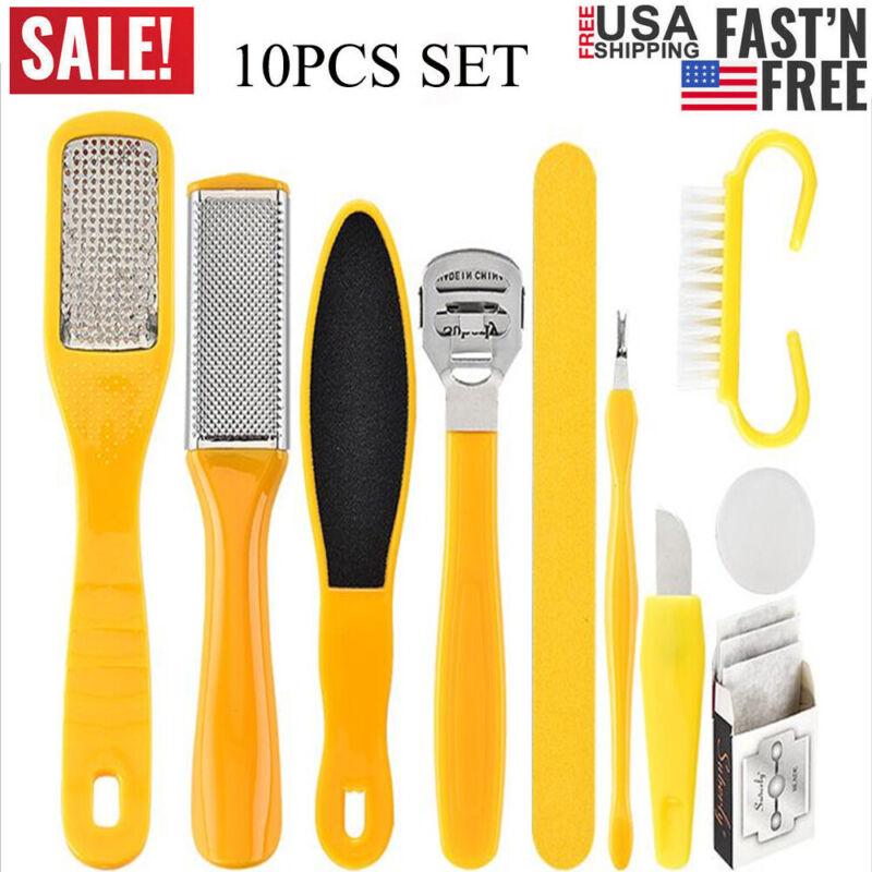 10PCS Set Pedicure Kit Rasp Foot File Callus Remover Scraper Nail Care Tool US