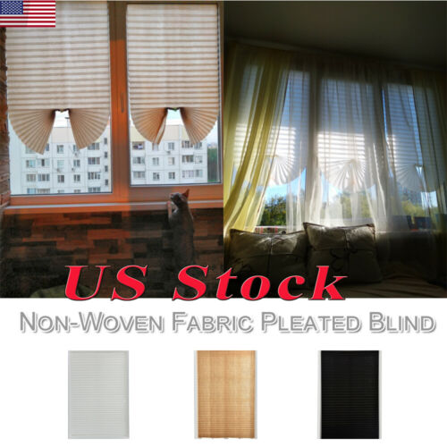 Self Adhesive Window Curtain Coffee Pleated Blind Balcony Sh