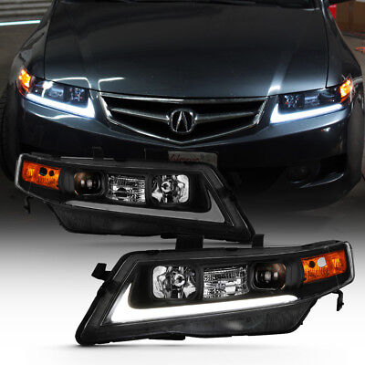 For 04-08 Acura TSX LED Bar Neon Tube BLACK Projector Headlight Left+Right Lamp