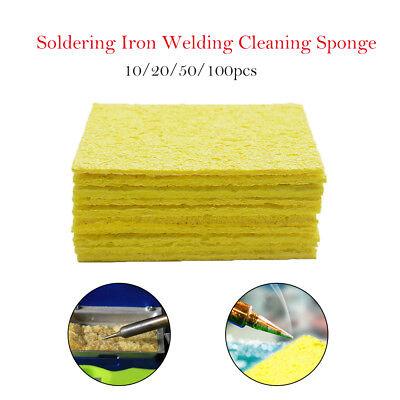 10-100pcs Soldering Iron Solder Tip Welding Cleaning Sponge Yellow Iron Cleaner