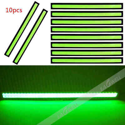 US 10X 12V COB LED Car Fog DRL Daytime Running Lights Bar Strip Waterproof Green
