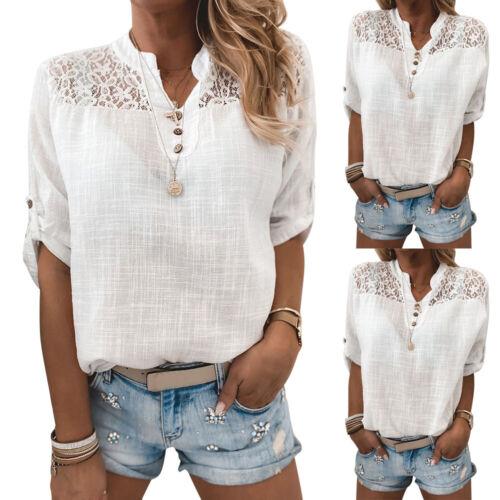 Damen Spitze Hemdbluse Oberteile Sommer Casual Shirt Blusenshirt Top Tunika DE