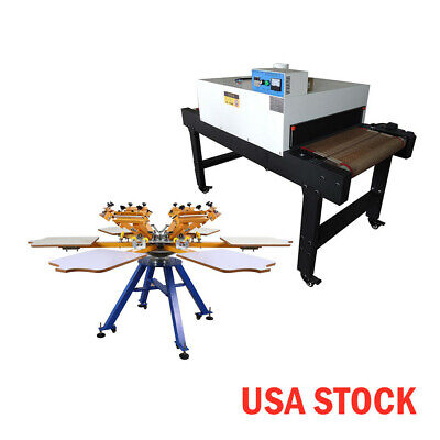 Usa-6 Color 6 Station Silk Screen Printing Machine 4800w Conveyor Tunnel Dryer