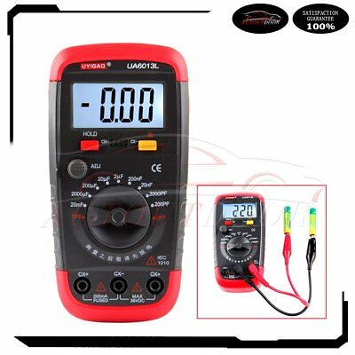New Digital Auto Range Capacitor Capacitance Tester Meter Ua6013l With Leads