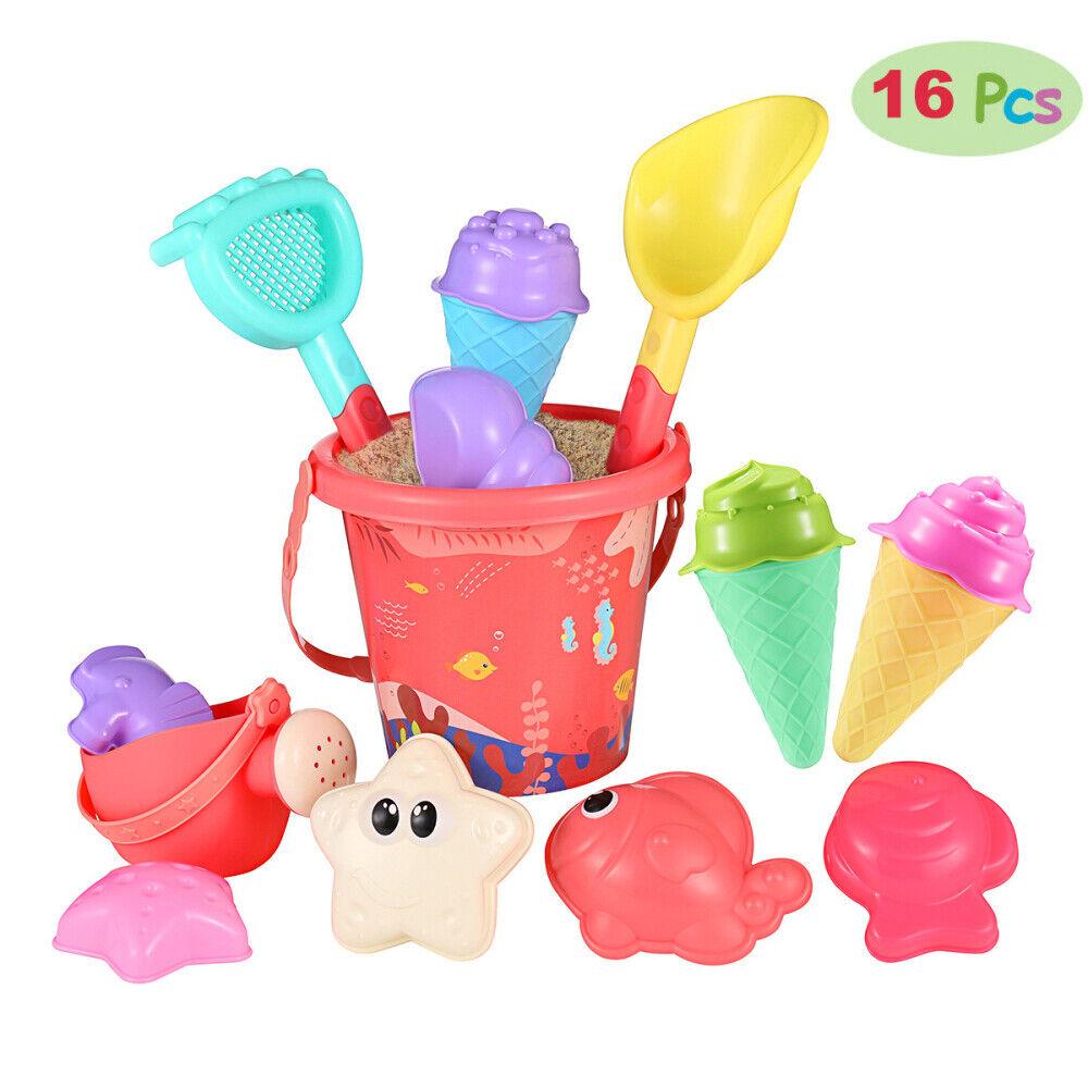 iBaseToy 16tlg. Sandspielzeug Set Strandspielzeug für Sandkasten Eimergarnitur