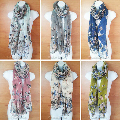 Cluster Butterflies Butterfly Print Scarf Ladies Latest Designer Fashion Wrap - Butterfly Print Scarf