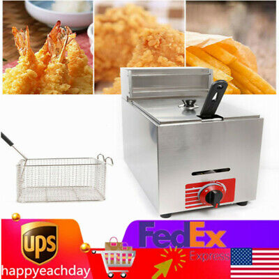 Commercial Stainless Steel Countertop Gas Fryer Deep Fried French Friebasket