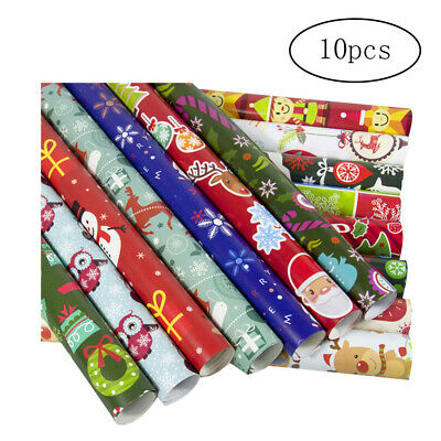 10Pcs Christmas Gift Wrap Paper Christmas Wrapping Paper Bundle with Cut Lines ()