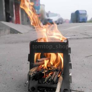 Portable Outdoor Camping Wood Stove Cooking Survival Burning Camping S4V7