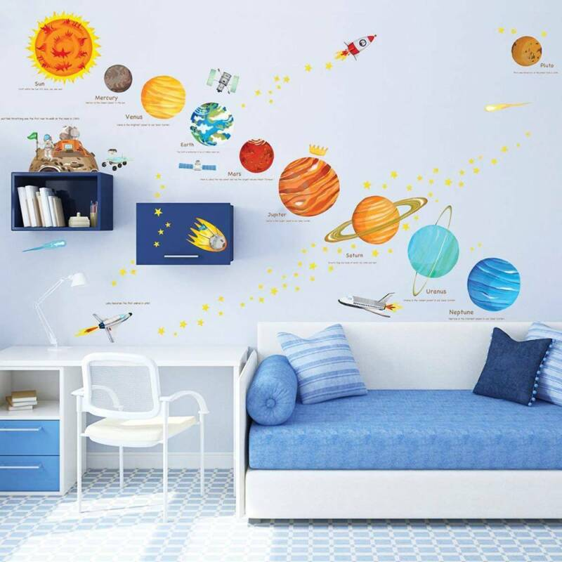 Home Decoration - Wall Decal Stickers Solar System Home Room Space Planets Kids Education Decor