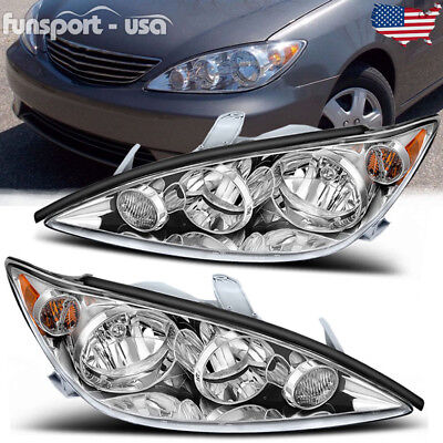for 2005-2006 Toyota Camry Crystal Chrome Headlights Headlamps Assembly Pair Set