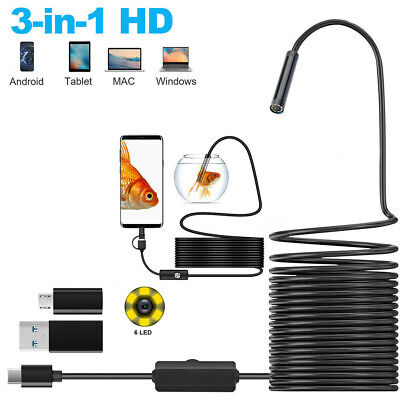 2m Snake Endoscope Borescope 5.5mm 6leds Inspection Usb Camera For Android Pc