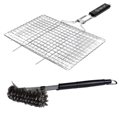 Portable Silver BBQ Grilling Basket Grill Brush Stainless St