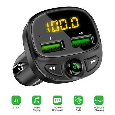 Wireless Bluetooth 5.0 FM Transmitter Hands-free Radio AUX Adapter Car Kit T4W2