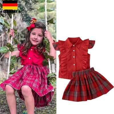 er Baby Mädchen Rüschen T-Shirt Tops Check Rock Kleid Outfit Set (Kleinkind Mädchen)