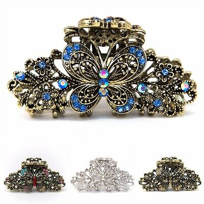 USA Woman Large elegant metal butterfly rhinestones crystal hair claw Clip pin  - Elegant Butterfly Rhinestones