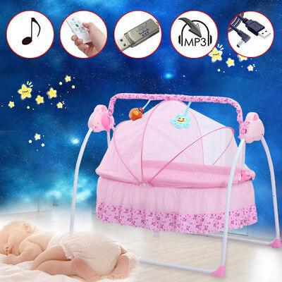 Pink Electric Baby Crib Cradle Auto-Swing Newborns Bassinets Sleep Bed Infant Us