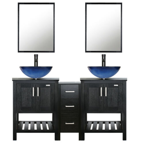 "60"" Bathroom Vanity Modern Mirror Double Vessel Sink Faucet Side Cabinet Combo"