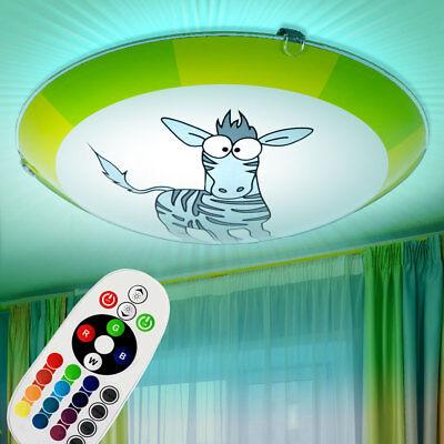 LED Kinder-Zimmer Decken Lampe Dimmbar Wand Leuchte Zebra RGB mit Fernbedienung