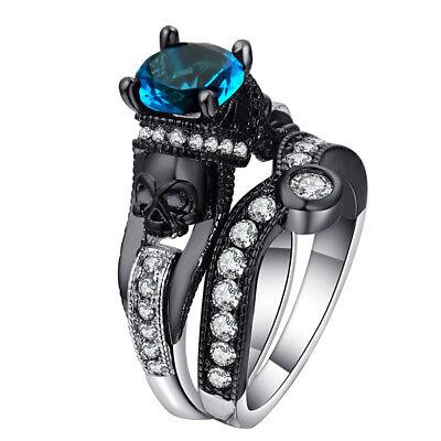 Unique Blue Skeleton Black Skull Ring Women Punk Goth Rings Affordable -