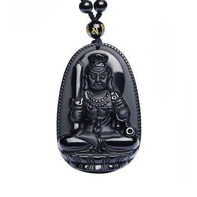 Perlen Halskette mit Anhänger Acala, Acalanatha ausOBSIDIAN Bodhisattva, BUDDHA