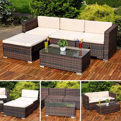 5tlg. Garten Ecksofa Lounge mit Tisch + Polster Sitzgruppe Rattanmöbel braun