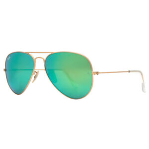 6eaa1580191dc Ray-Ban RB3025 112 19 Gold Green Mirror Lens 58mm Large Aviator Sunglasses