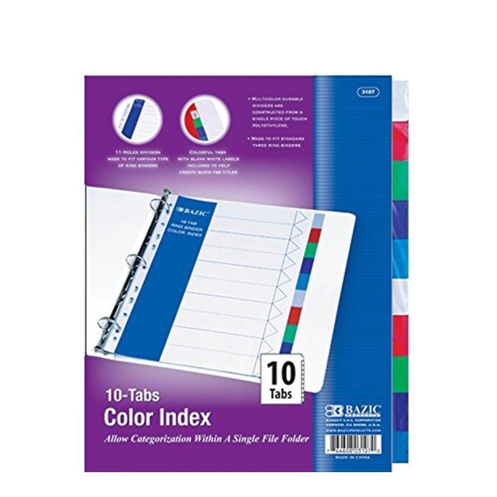 BAZIC 3 Ring Binder Dividers with 10 Color Index Tabs #3107