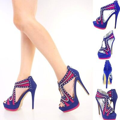Rhinestone Stripper Heels (Rhinestone Studded Peep Toe Stripper shoes Stiletto High Heels Platform Pump)