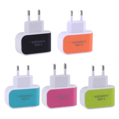 5V 1A LED 3 Port USB Charger Plug Adapter AC Quick Charge US EU for Cell Phone 5v Ac 1a Usb