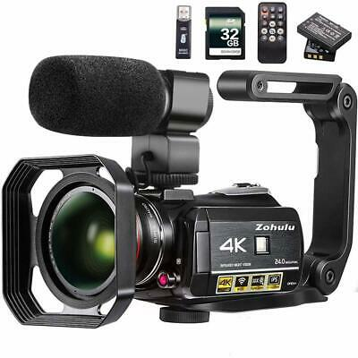 Video Camera 4K Camcorder ZOHULU WiFi Ultra HD Vlog Camera for YouTube, 3.1'' IP