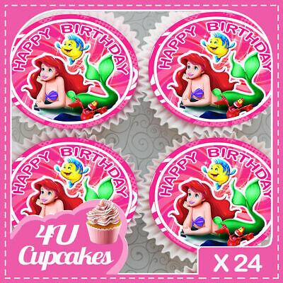 24 x ARIEL LITTLE MERMAID PINK BIRTHDAY EDIBLE CUPCAKE TOPPERS RICE PAPER 7099