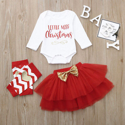 Toddler Baby Kid Girls Xmas &Thanksgiving Letter Romper Tops+Tutu Skirts Outfits (Baby Thanksgiving Outfit)