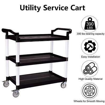 Heavy Duty 3-shelf Rolling Serviceutility Push Cart 390 Lbs. Capacity Black
