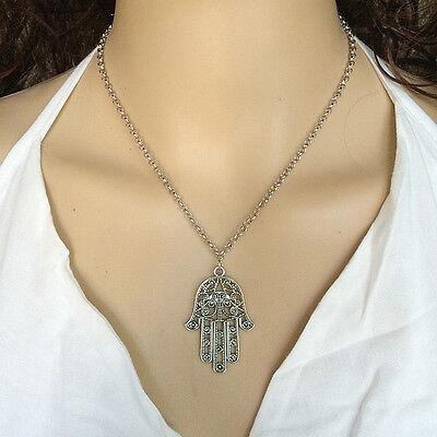 Vintage Silver Hamsa Hand of Fatima Pendant Amulet Evil Eye Choker Necklace