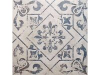 Antique Vintage Blue Floor Tiles - 50pcs/10sqm